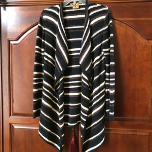 Tory Burch Striped Open Front Sweater. Size Small
